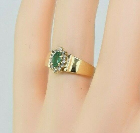 Vintage 14K Yellow Gold Emerald and Diamond Ring Size 7 Circa 1960