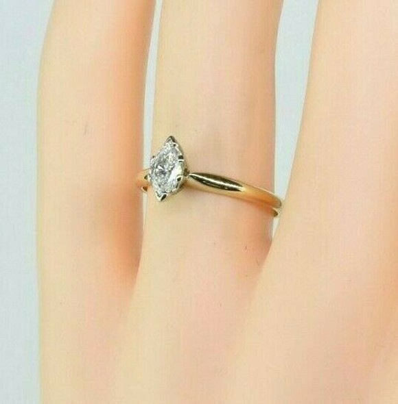 Vintage 14K Yellow Gold Diamond Marquise Solitaire Ring Size 6.5 Circa 1960
