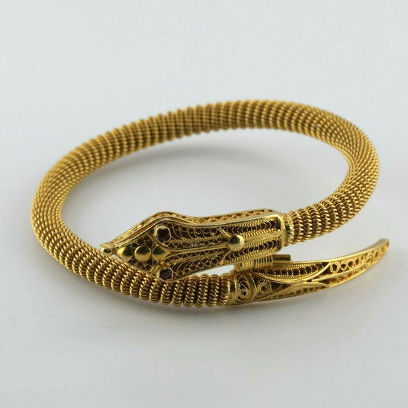 Snake Bracelet Super Hand Made 21K Yellow Gold Filigree Head and Ruby Eyes