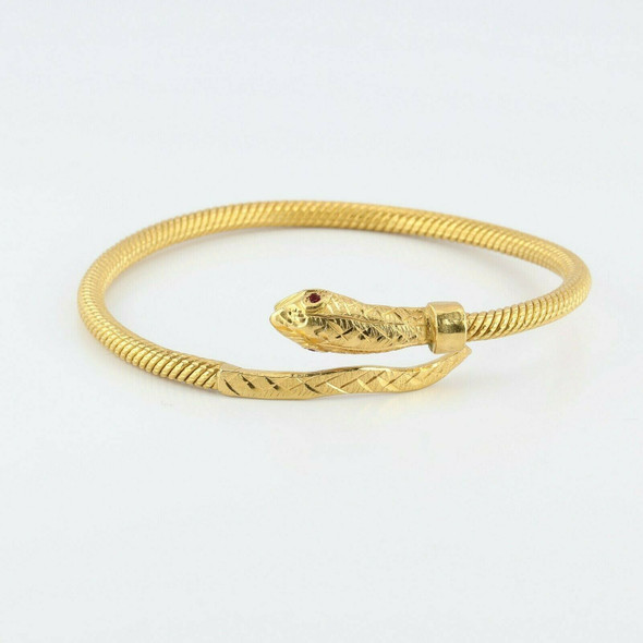 Great Hand Made 21K Snake Bracelet Yellow Gold with Ruby Eyes Circa 1970