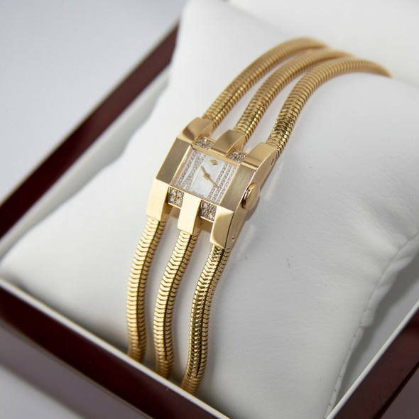 18K Yellow Gold & Diamond Van Cleef & Arpels Retro Modern Watch