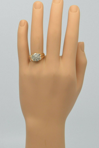 14K Yellow Gold 7 Stone Diamond Ring Circa 1950, Size 10.25