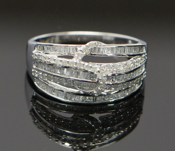 10K White Gold Diamond Pave Ring with Round & Square Stones, Size 8