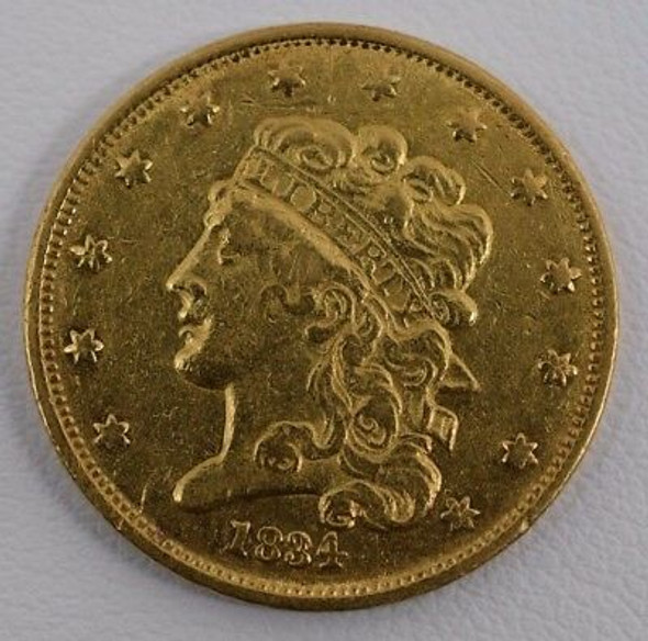 1834 $5.00 Classic Head Gold Half Eagle, No Motto
