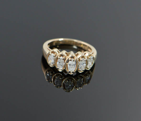 14K Yellow Gold 5 Stone Marquise Cut Diamond Ring, Size 6.5