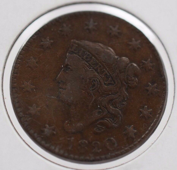 1820 Matron Head Large Cent, Very Fine Rotated Reverse Die