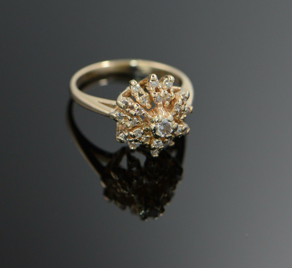 14K Yellow Gold Diamond Cocktail Ring 2 Halo Style, Size 3.5
