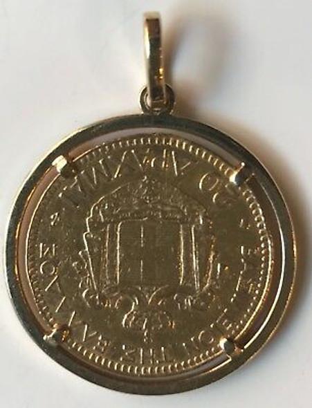 1876-A Greece 20 Drachmai Gold Pendant