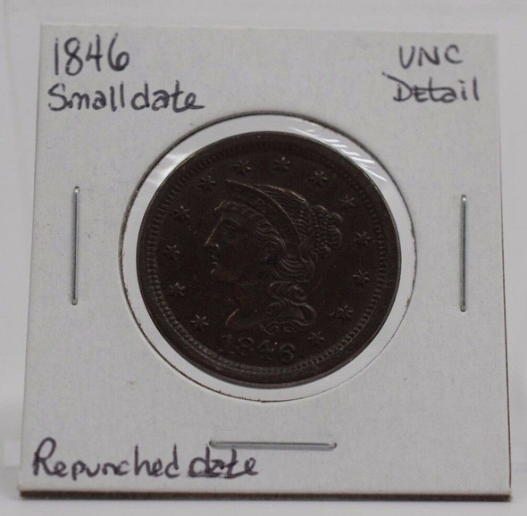 1846 Liberty Head Large Cent Small Date Repunched, Unc. Details