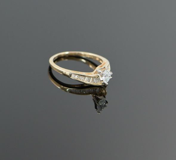 14K Yellow Gold Marquise Diamond Ring 1/2 ct. tw., Circa 1980, Size 7