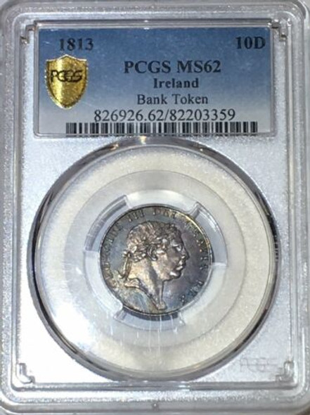 1813 Ireland 10 Pence Bank Token PCGS MS 62