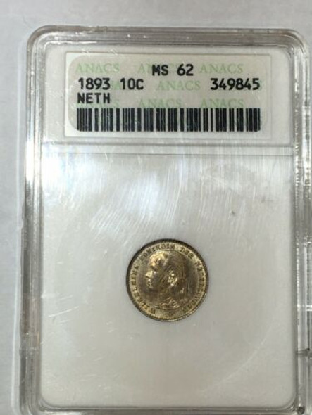 1893 Netherlands 10 Cents ANACS MS 62