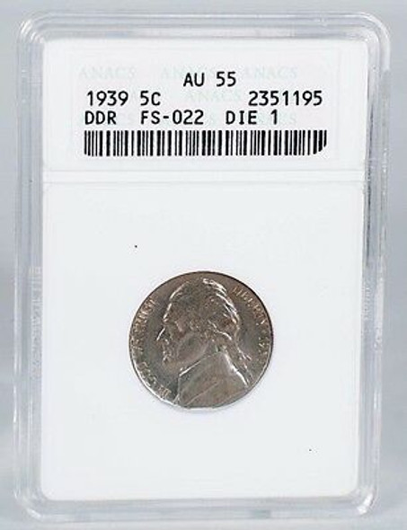 1939 Jefferson Nickel Double Die Reverse FS022 ANACS AU55