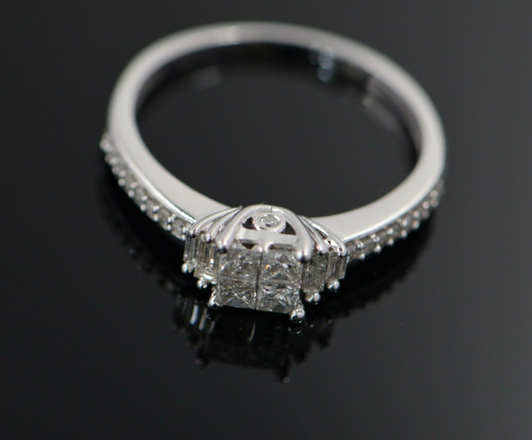 10K White Gold Princess Cut Diamond Engagement Ring, 1/2 ct. tw.