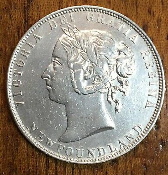 1899 Newfoundland Canada Silver 50 Cents Queen Victoria Coin - Nice Shape!!