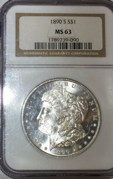 1890-S Silver Morgan Dollar NGC MS 63