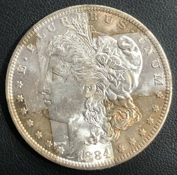 1884-O Morgan Silver Dollar Band Toning