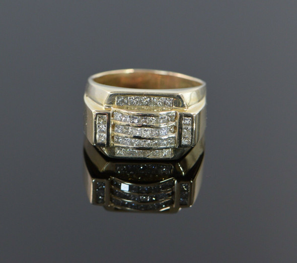14K Yellow Gold Men's Diamond Ring 2.5 ct. tw. H SI, Circa 1980, Size 13