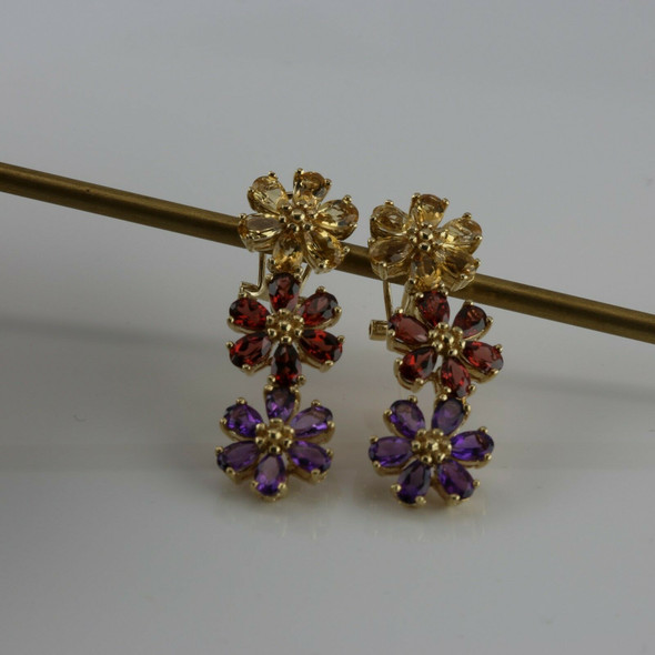 14K Yellow Gold Multi Stone Floral Post Earrings Citrine Garnet and Amethyst