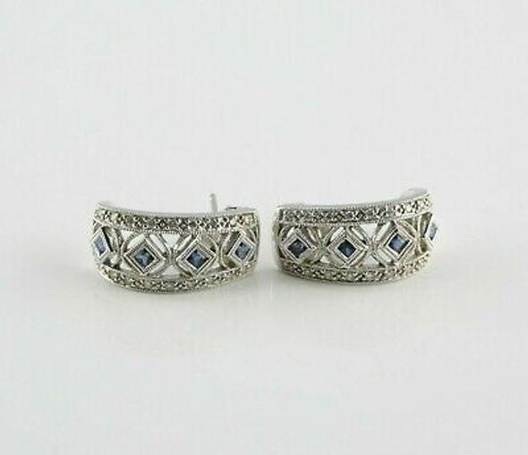14K White Gold Sapphire Diamond Semr J Hoop 0.50 Ct TW Estimated
