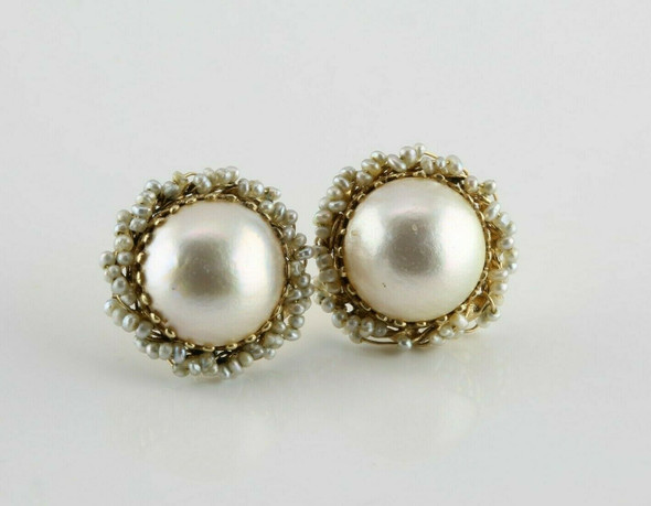 14K Yellow Gold Mabe Pearl Post Earrings with Seed pearls
