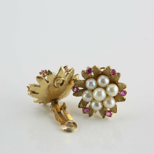 14K Yellow Gold Pearl Cluster and Ruby Clip On Earrings