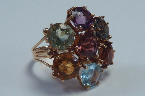 18K Yellow Gold Assorted Gemstone Cluster Ring, size 6.5
