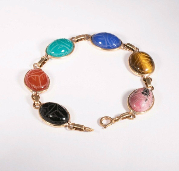 14K Yellow Gold Scarab Bracelet, Consists of Genuine Carved Gemstones