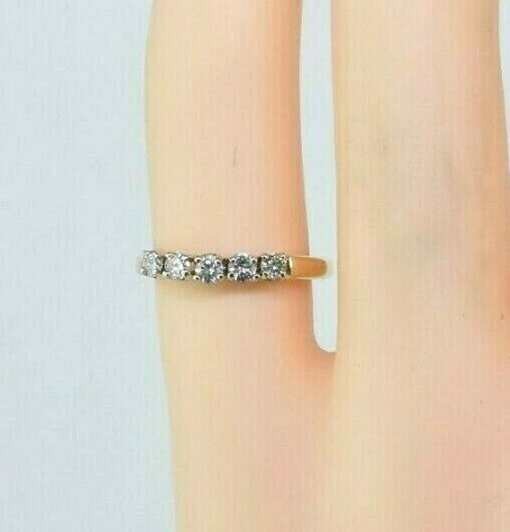 14K Yellow Gold Diamond Band 5 Round Diamonds 1/3 ct tw G SI 1 Ring Size 3.25