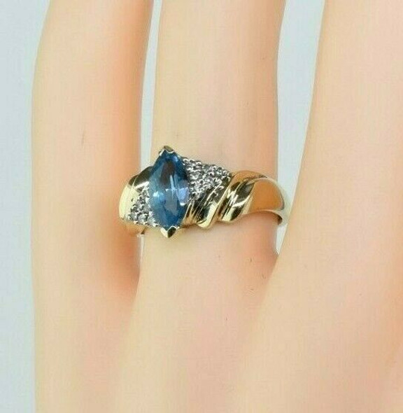 Vintage 14K Yellow Gold Blue Topaz Diamond Accent Ring Size 6.75 Circa 1965