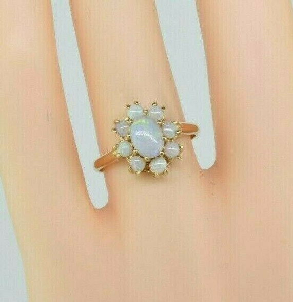 14K Yellow Gold Crystal and Opal Halo Opal Ring Size 6.75 Circa 1970