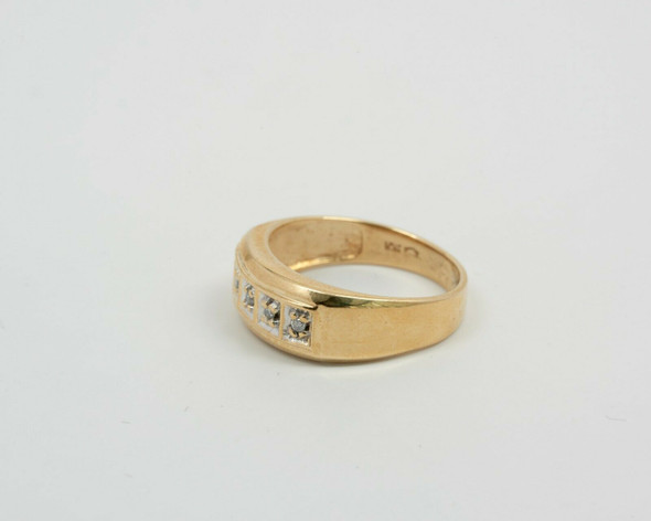 10K Yellow Gold Men's 5 Stone Diamond Ring Circa 1950, Size 10.25
