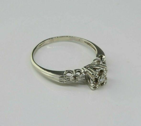 Antique 14K White Gold Diamond Illusion Ring Size 7 Circa 1930