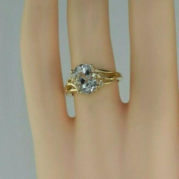 Vintage 10K Yellow Gold Pale Aquamarine Ring Size 5.75 Circa 1980