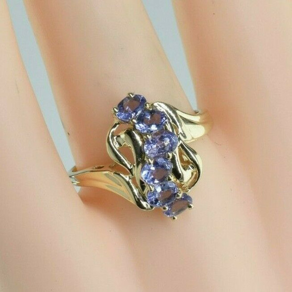 10K Yellow Gold Tanzanite Cocktail Ring Size 8 Circa 1985