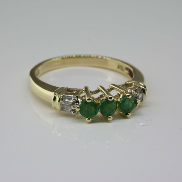 Vintage 10K Yellow Gold Emerald and Baguette Diamond Ring Size 7.25 Circa 1960