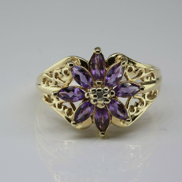 10K Yellow Gold amethyst and Diamond Rosette Ring Size 8.75