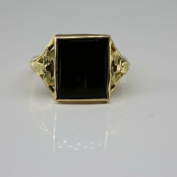 10K Yellow Gold Black Onyx Low Dome Rectangular Stone Ring Size 6