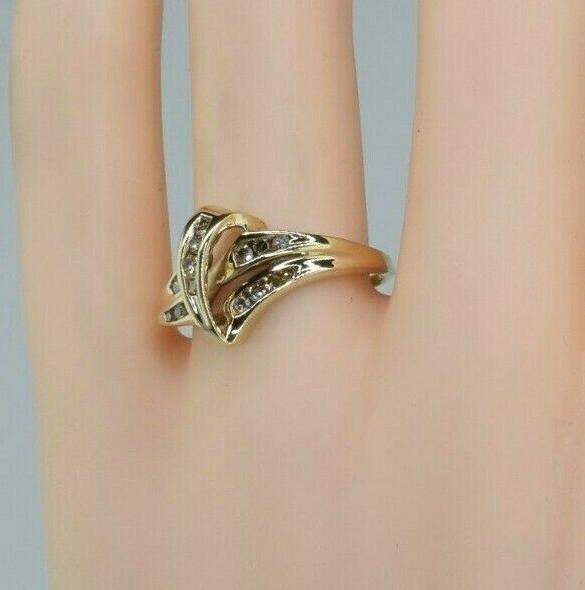 10K Yellow Gold Diamond Ring Bypass Design Size 8.25 Circa 1970