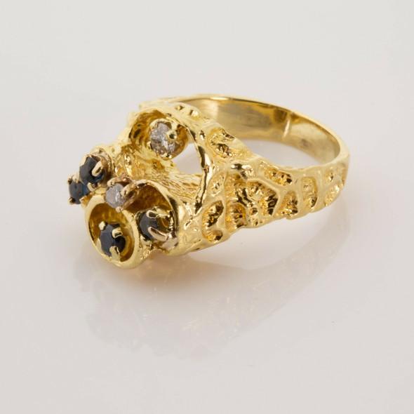 18K Yellow Gold Sapphire and Diamond Brutalist Modern Ring Size 7 Circa 1970
