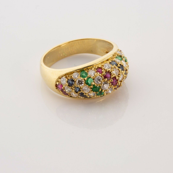 Vintage 18K YG Ruby Diamond Sapphire and Emerald Domed Ring Size 6.25 Circa 1960