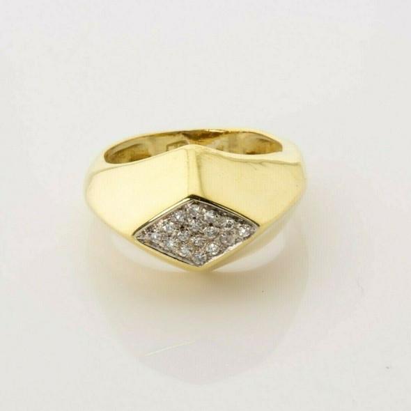 Vintage 18K Yellow Gold Diamond Ring Diamond Pattern Pave Top Size 3 Circa 1960