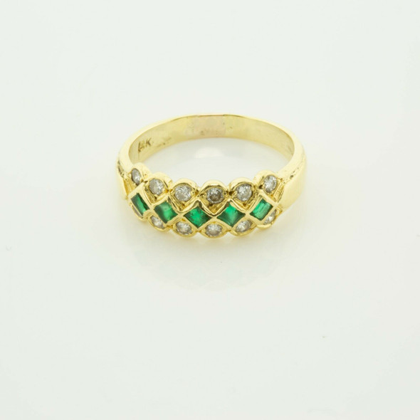 18K Tiffany YG Emerald and Diamond Ring with 5 Square Emeralds Size 6.25