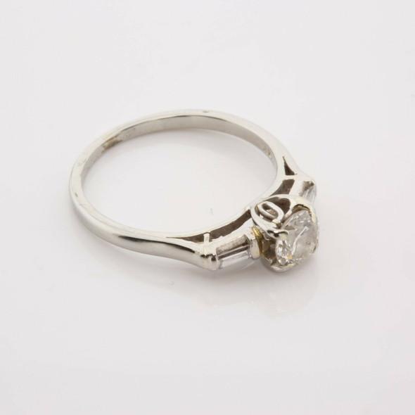 Vintage 18K White Gold .55 ct Diamond Engagement Ring Size 6.25 Circa 1950