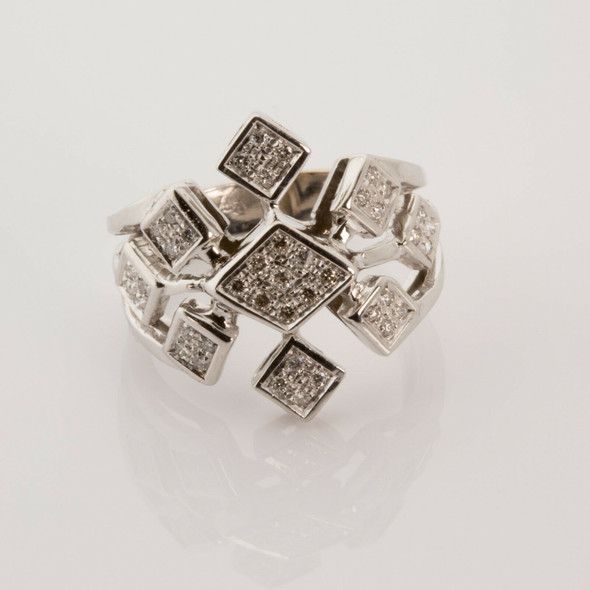 18K White Gold Diamond Geometric Snowflake Ring Size 7.75 Circa 1970