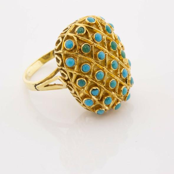 Vintage 18K Yellow Gold Turquoise Studded Ring Bezel Set Size 6.5 Circa 1950