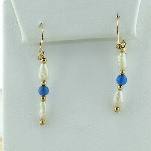 14K Yellow Gold Pearl and Blue Stone Earrings
