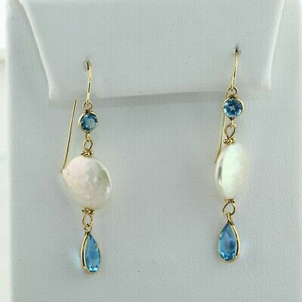 14K Yellow Gold Pearl and Blue Topaz Earrings