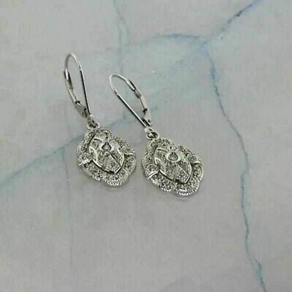 14K White Gold Oval Shaped Diamond Earrings