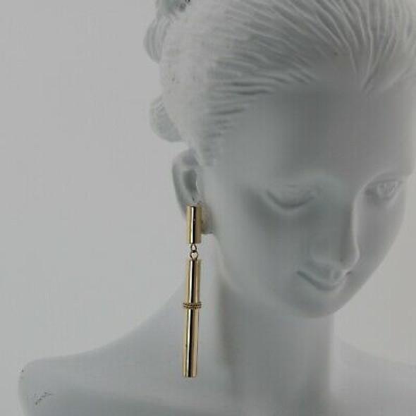 14K Yellow Gold Earrings Tube Design